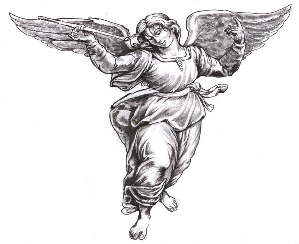 Wonderful grey-ink woman angel tattoo design by Wikkedone