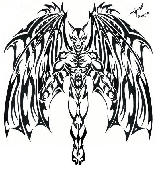 Wonderful lack tribal style gargoyle tattoo design