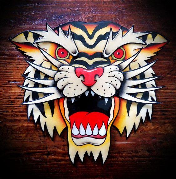 Wonderful old school roaring tiger head tattoo design