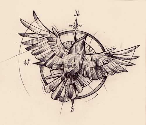 wonderful open winged flying sparrow in circle background tattoo design. Black Bedroom Furniture Sets. Home Design Ideas