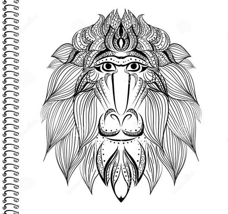 Wonderful ornamented baboon head tattoo design