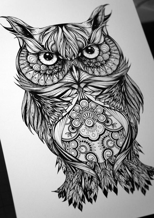 Wonderful ornamented owl tattoo design