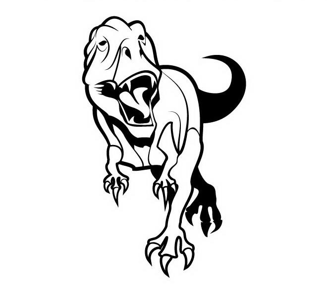 Wonderful outline attacking dinosaur tattoo design
