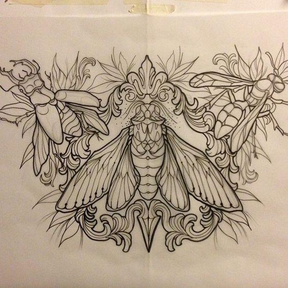 Wonderful outline decorated bug trio tattoo design