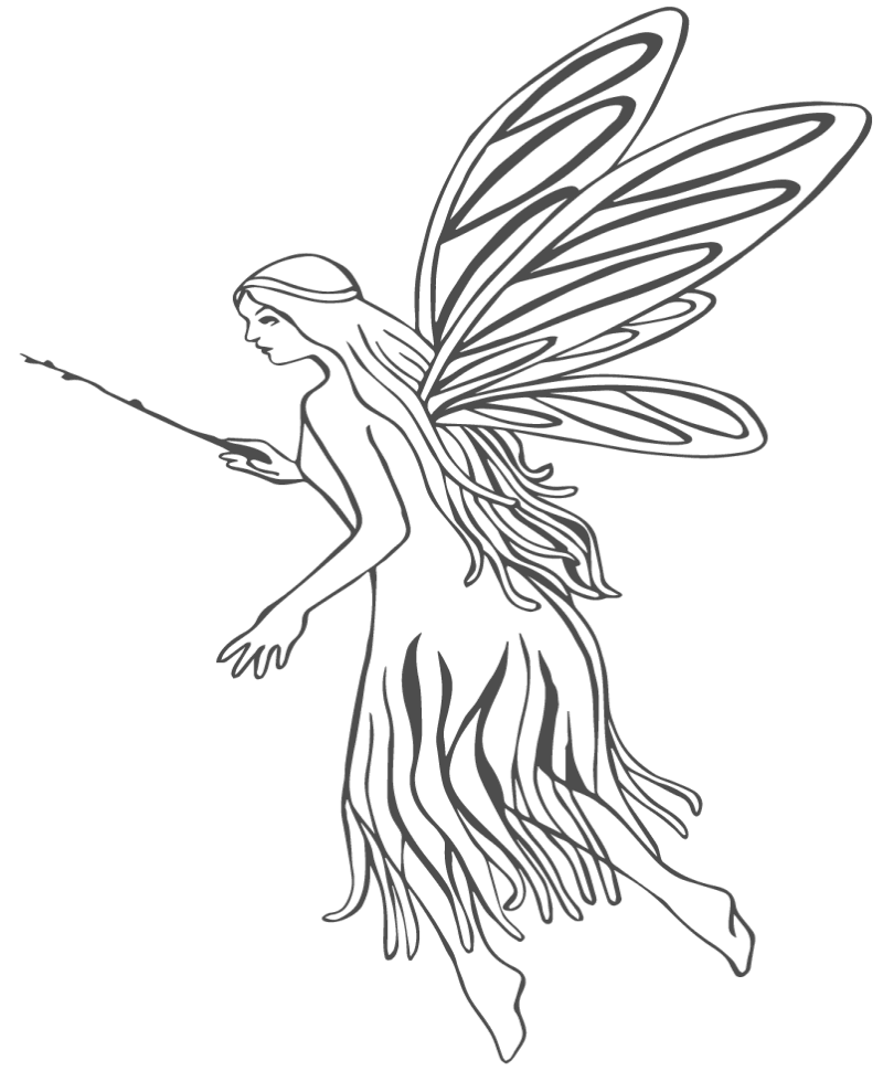 Wonderful outline fairy in nice dress tattoo design