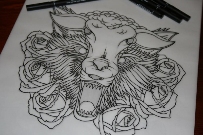 Wonderful outline sheep and wolf heads surrounded with roses tattoo design