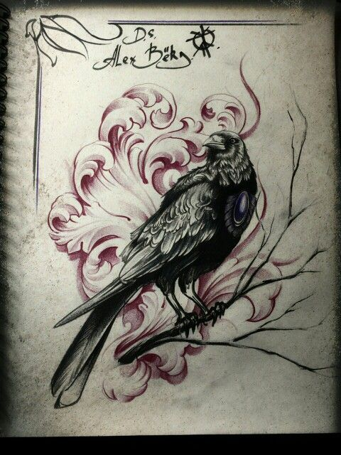 Wonderful Raven With Violet Gem On Chest On Swirly Background Tattoo