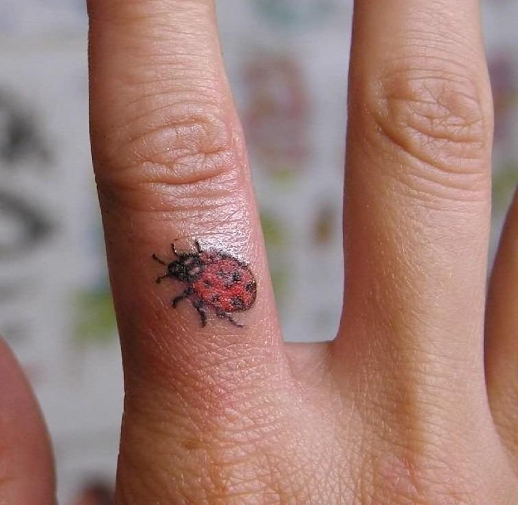 eccezionale piccola colorata coccinella tatuaggio su dito