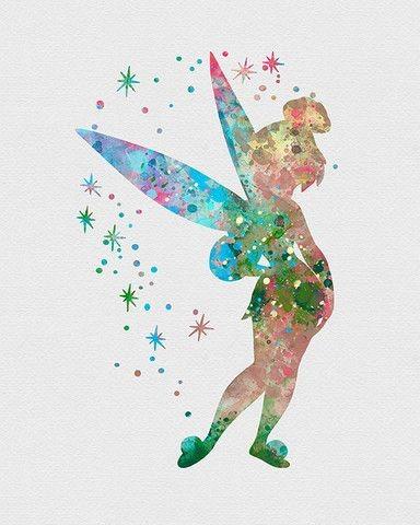 162ca463904ba Wonderful spotted watercolor tinkerbell fairy tattoo design -  Tattooimages.biz
