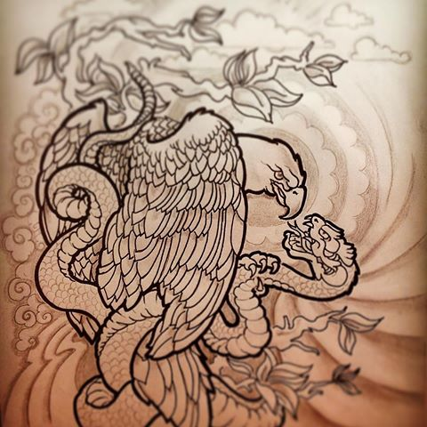 Wonderful uncolored eagle and snake fight tattoo design