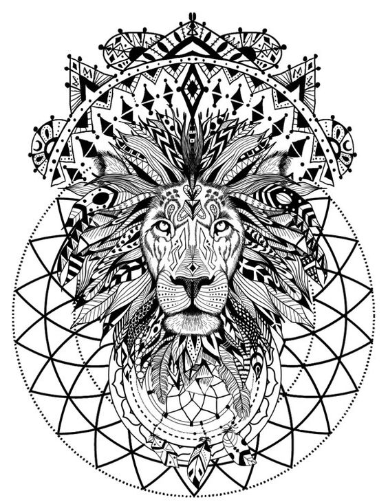 Wonderful uncolored feathered mane lion and geometric ...