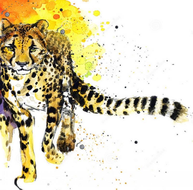 Wonderful watercolor cheetah walking forward tattoo design
