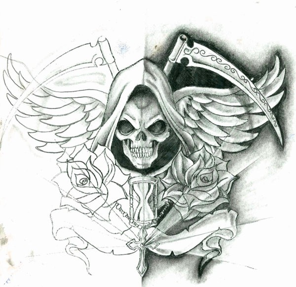 Wonderful winged death with crossed scythes and roses tattoo design