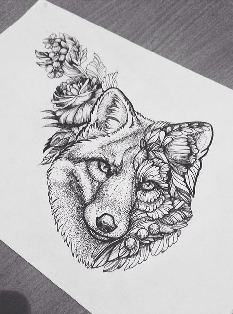 Line Drawing Animal Tattoos : Wonderful wolf head withh dotwork effect and flowers