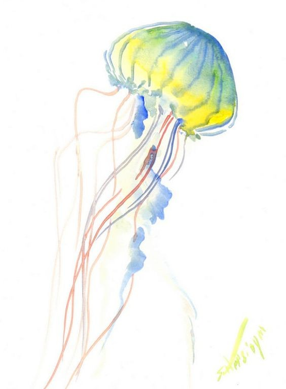 Yellow-and-blue jellyfish with long red tentacles tattoo design