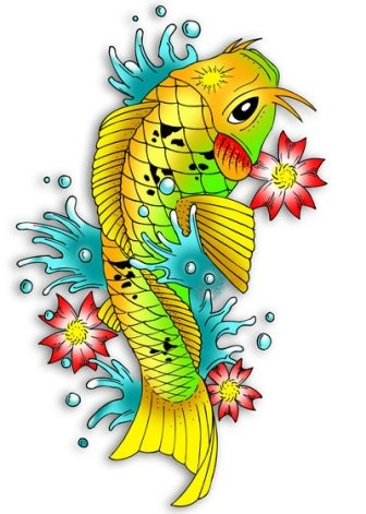 Yellow-and-green fish and red cherry flowers tattoo design