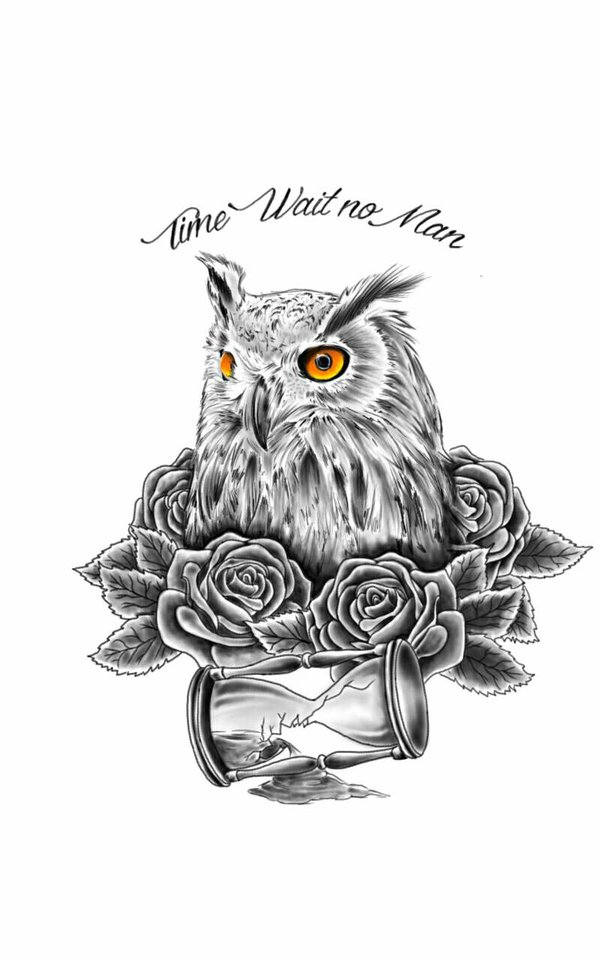 Yellow-eyed owl with roses and hourglass tattoo design by Chanlung168