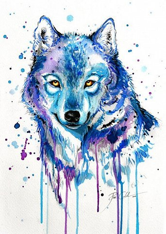 Yellow-eyed watercolor wolf with smudges tattoo design