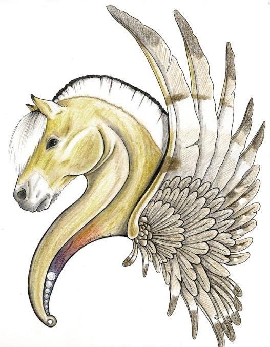Yellow-skin pegasus head with a wing in profile tattoo design