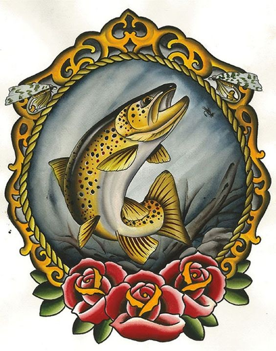 Yellow fish in golden mirror frame with roses tattoo design
