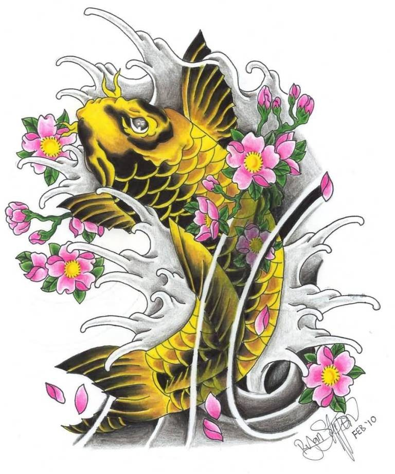 Yellow koi fish with black shadows and pink cherry flowers tattoo design
