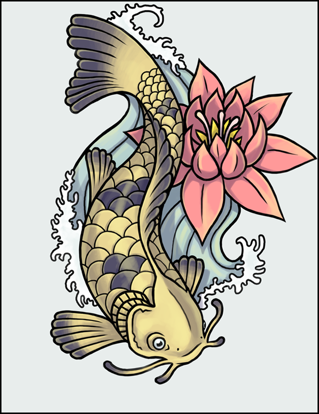 Yellow koi fish with black spots and pink lotus tattoo design by Mcgibs