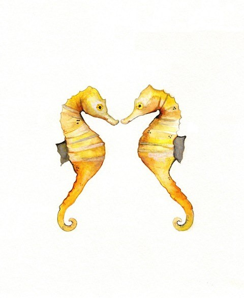 Yellow watercolor kissing seahorse lovers with grey flippers tattoo design