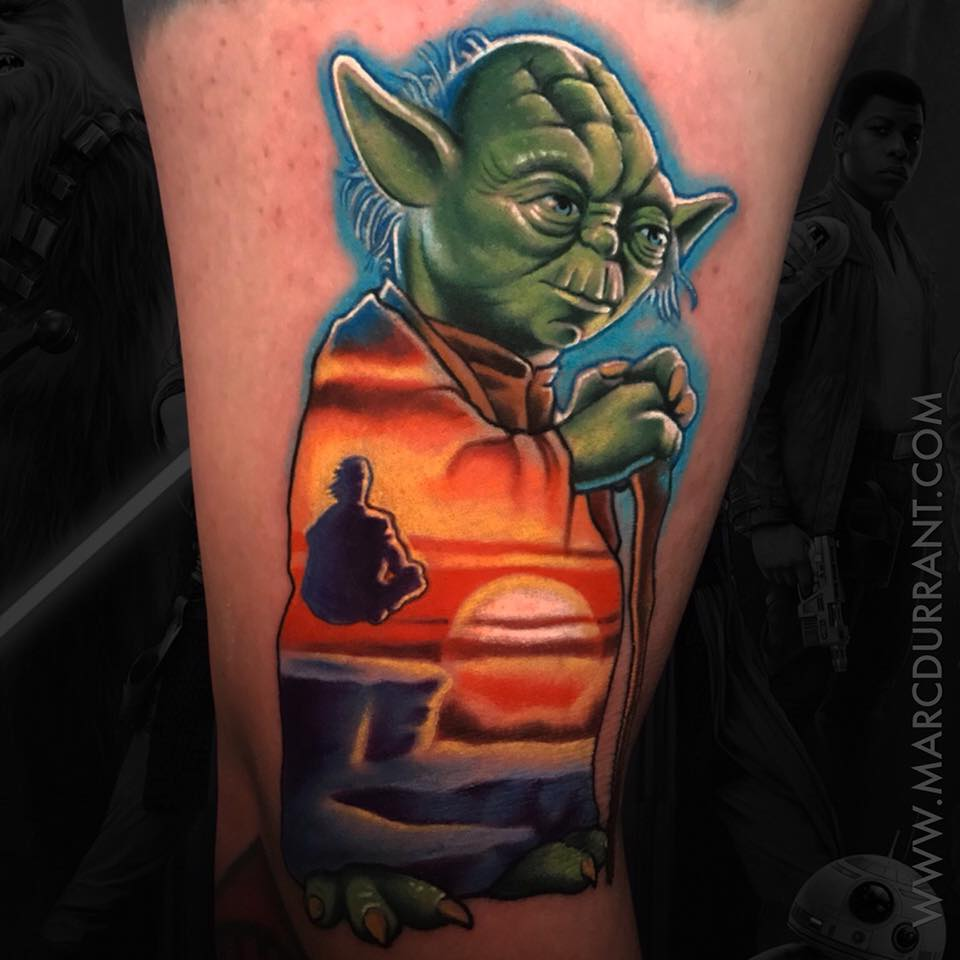 Yoda from Star Wars movie tattoo