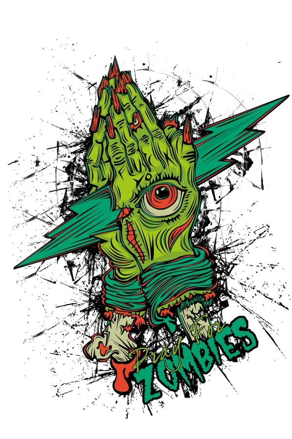 Zombie praying hands with an illuminati eye in green colors tattoo design