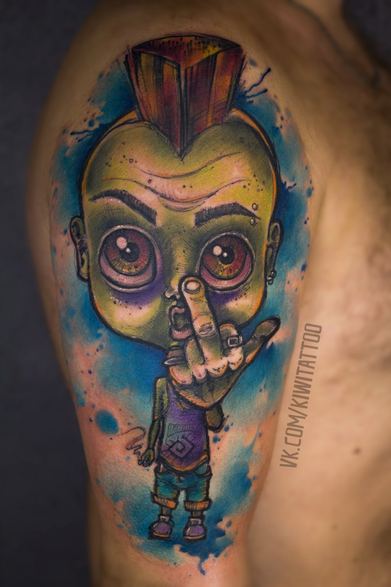 Zombie punk tattoo on shoulder