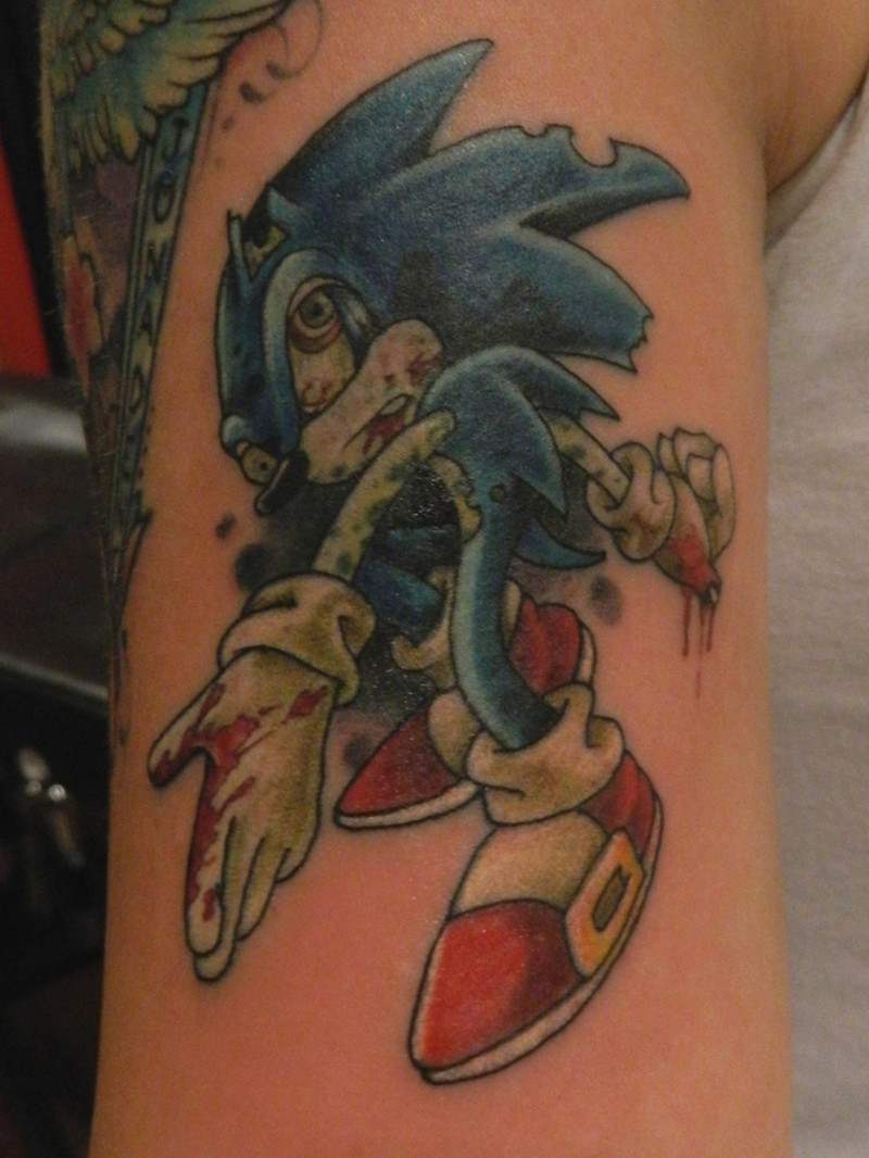 Zombie Sonic Hedgehog Tattoo For Men On Upper Arm Tattooimages Biz