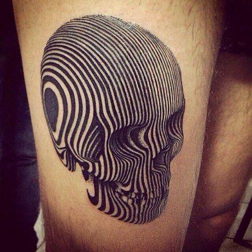 Adorable black ink lines skull tattoo