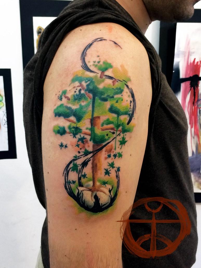Abstract green tree by koraykaragozler