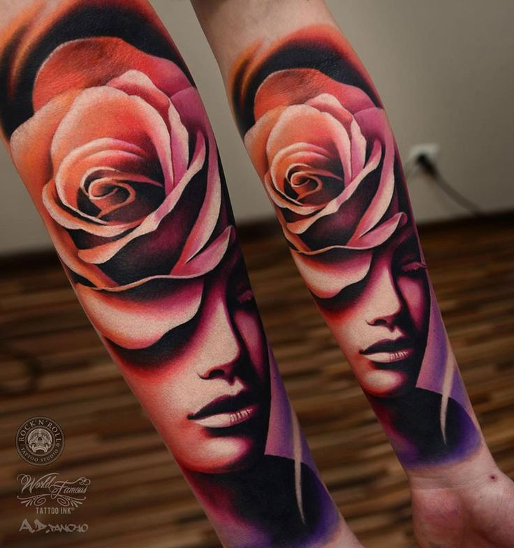Abstract style accurate looking colored thigh tattoo of woman with pink rose
