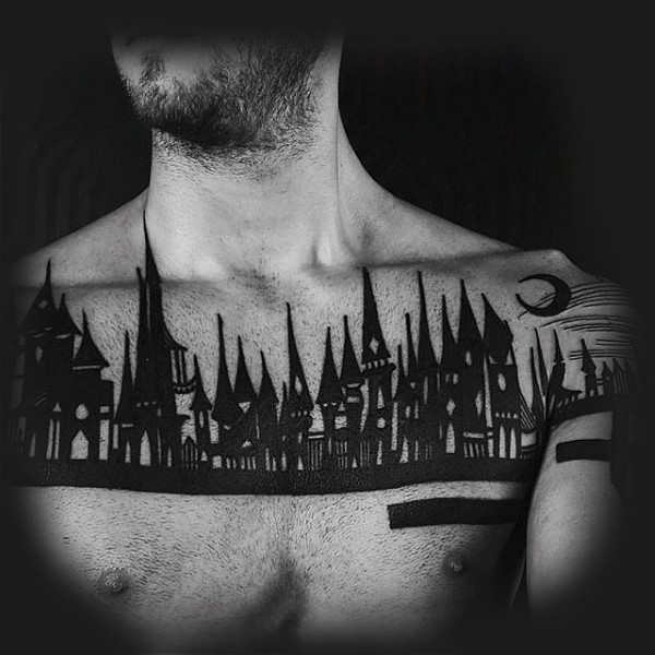 Abstract style back ink old night city tattoo on chest