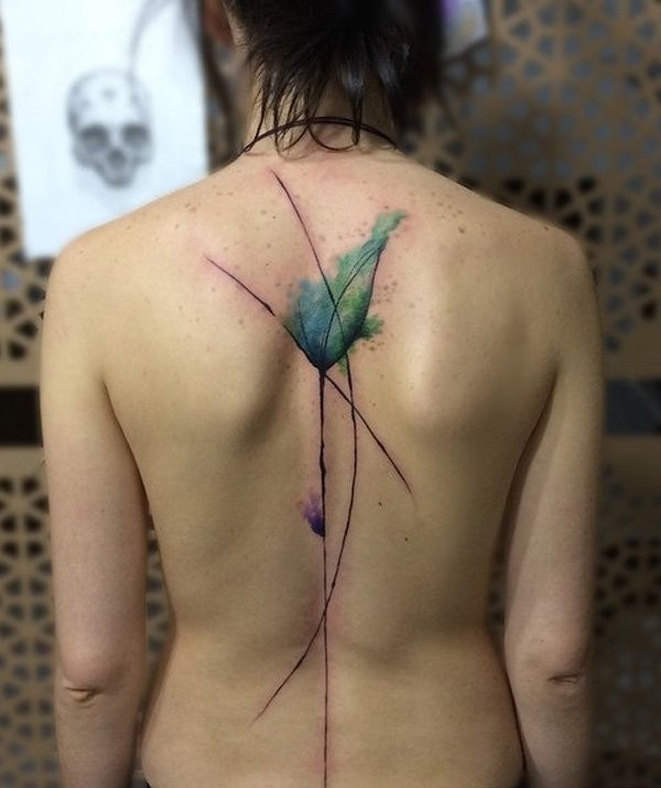 Abstract style big colorful back tattoo of flower