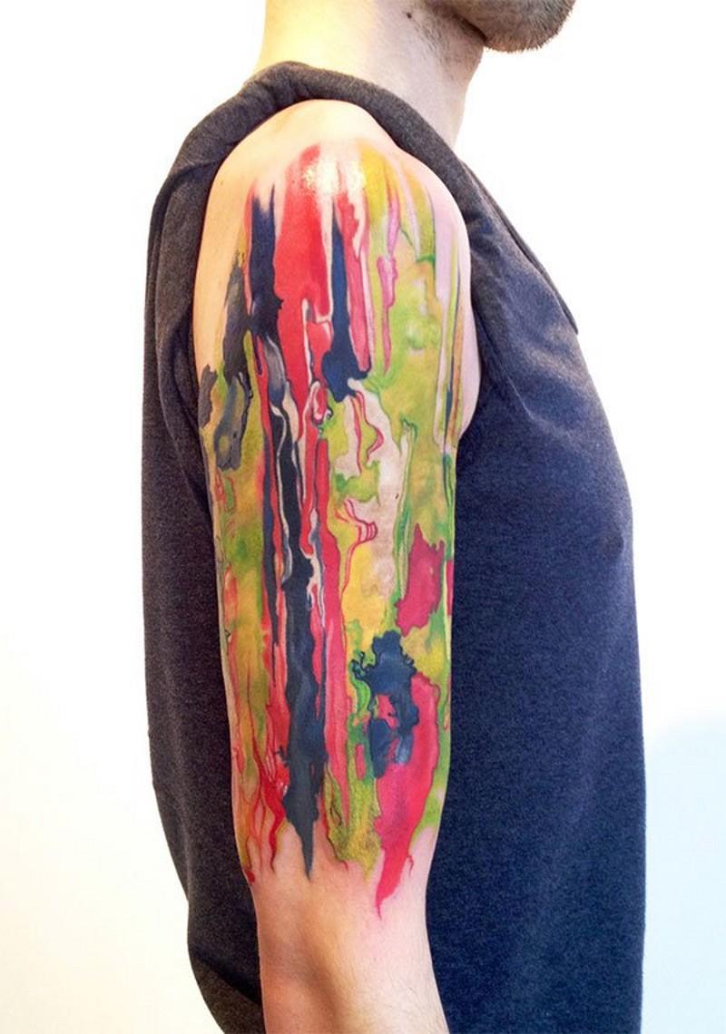astratto stile multicolore tatuaggio a mezza manica