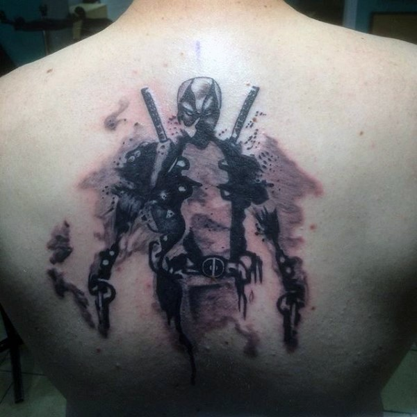 Abstract style black and gray style back tattoo of cool Deadpool