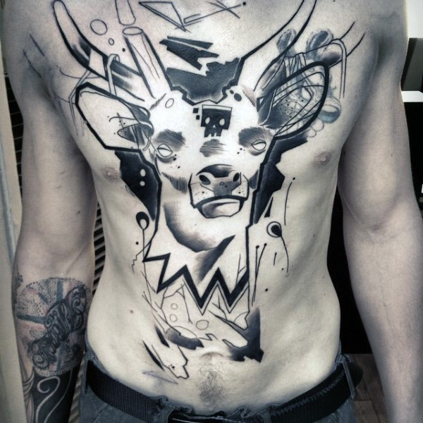Abstract style black and white chest and belly tattoo of mystical deer with skull shaped mask