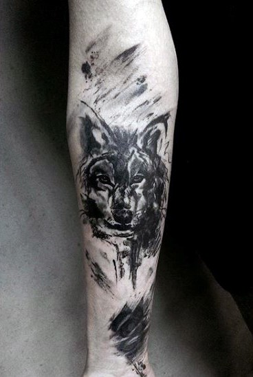 Abstract style black and white forearm tattoo on forearm