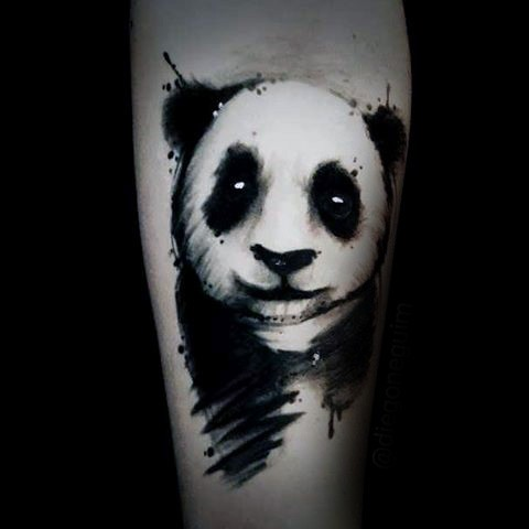 Abstract style black and white forearm tattoo of cute panda bear