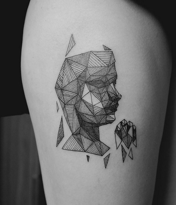 abstract style black and white geometrical face tattoo on thigh. Black Bedroom Furniture Sets. Home Design Ideas