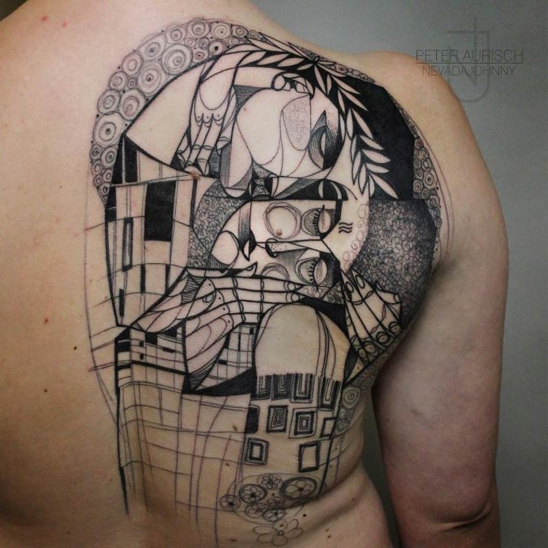 Abstract style black and white half back tattoo of people portraits and city