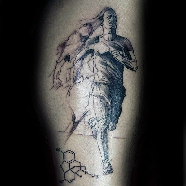 Abstract style black and white leg tattoo of running man