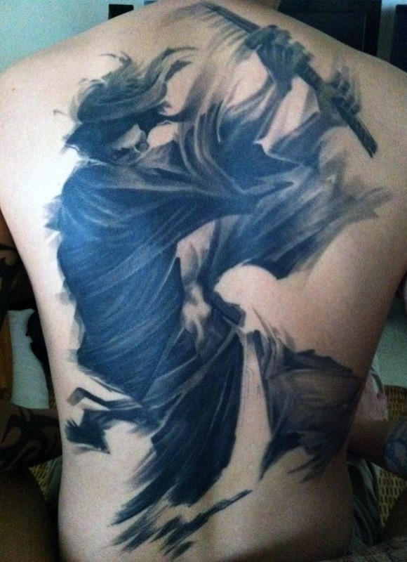 Abstract style black and white whole back tattoo of mystical Asian warrior
