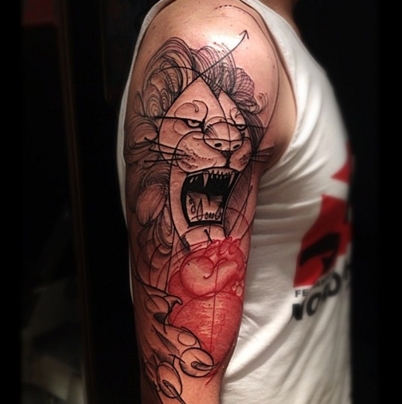 abstract style black ink roaring lion tattoo on shoulder with red human heart. Black Bedroom Furniture Sets. Home Design Ideas