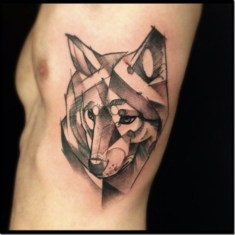 Abstract style black ink side tattoo of wolf head