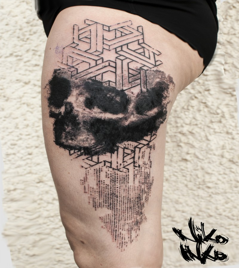 Abstract style black ink thigh tattoo of human skull with ornaments