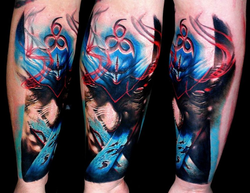 Abstract style colored arm tattoo of mystical fantasy demon face