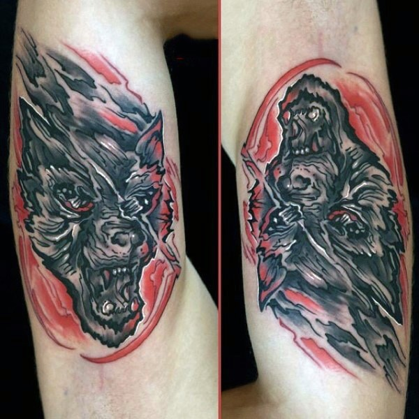 Abstract style colored arm tattoo of funny looking werewolf